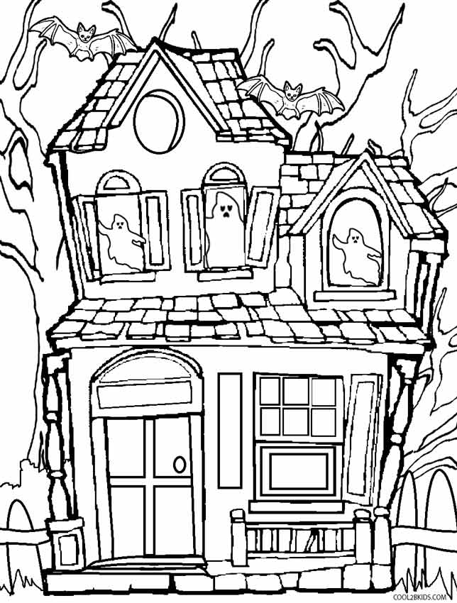 coloring page house printable haunted house coloring pages for kids cool2bkids coloring house page