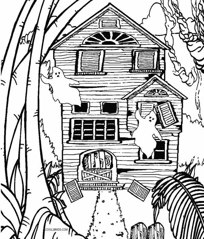 coloring page house printable haunted house coloring pages for kids cool2bkids page house coloring