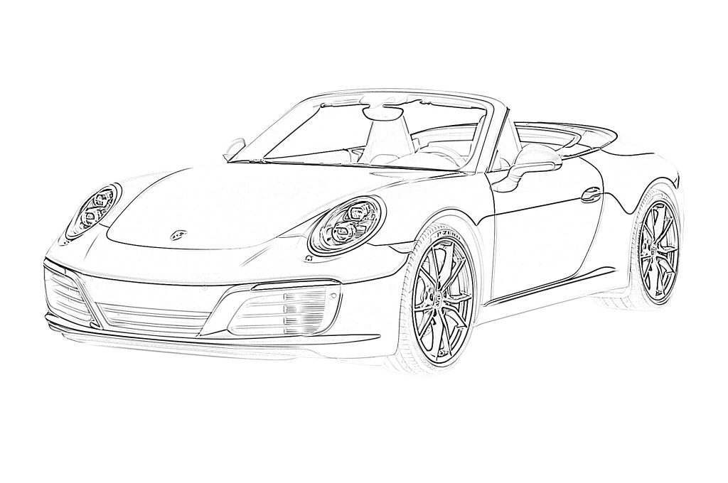 coloring page of car sports car convertible porsche coloring page page car of coloring