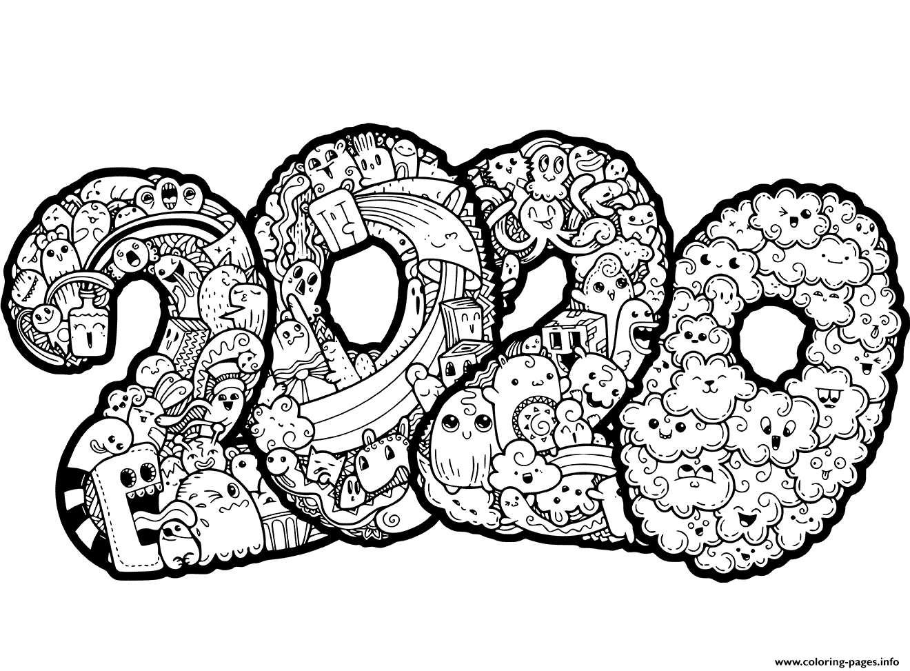 coloring pages 2020 2020 new year zentangle inspired style zen coloring pages coloring 2020 pages