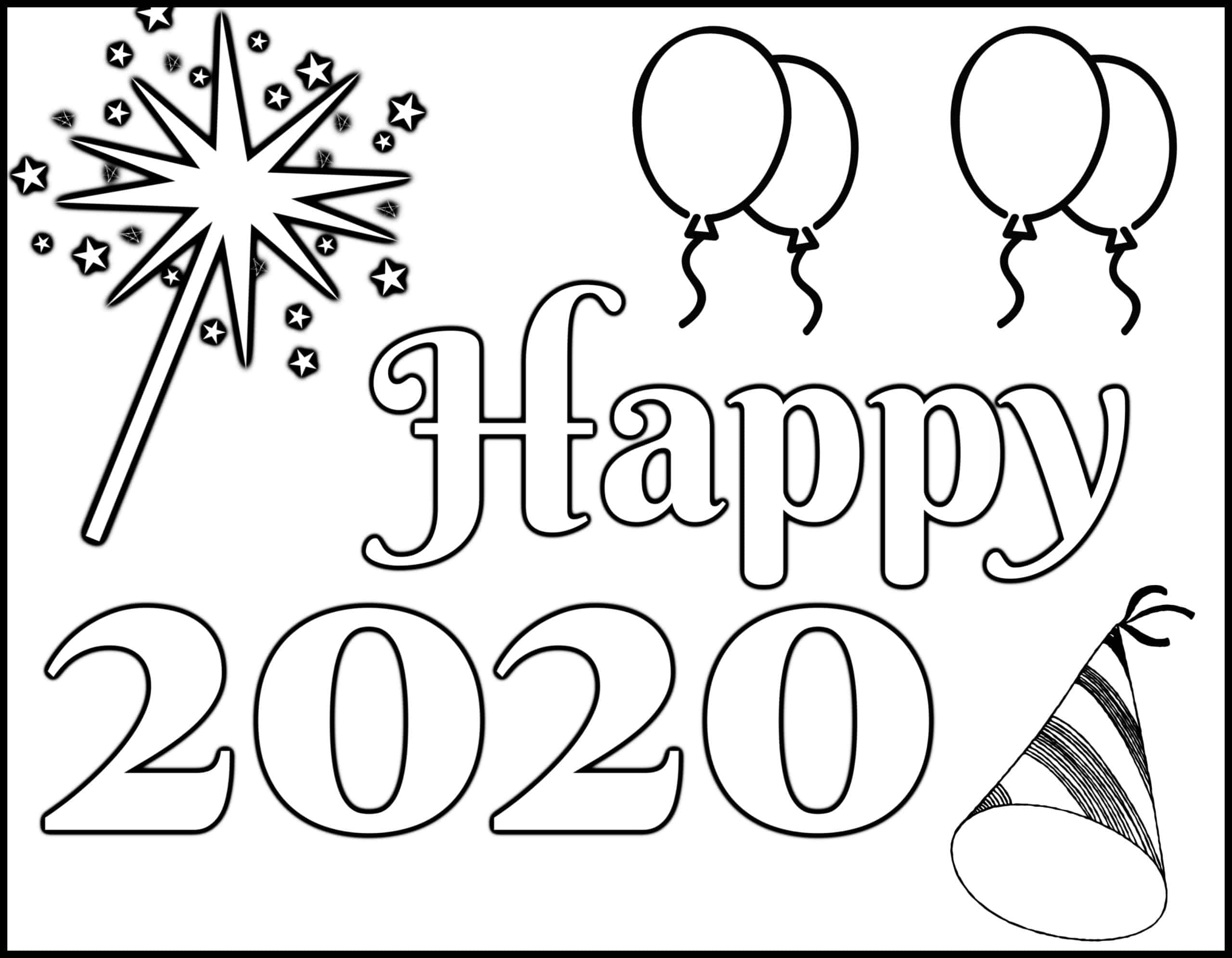 coloring pages 2020 happy new year 2020 coloring pages coloring home coloring 2020 pages