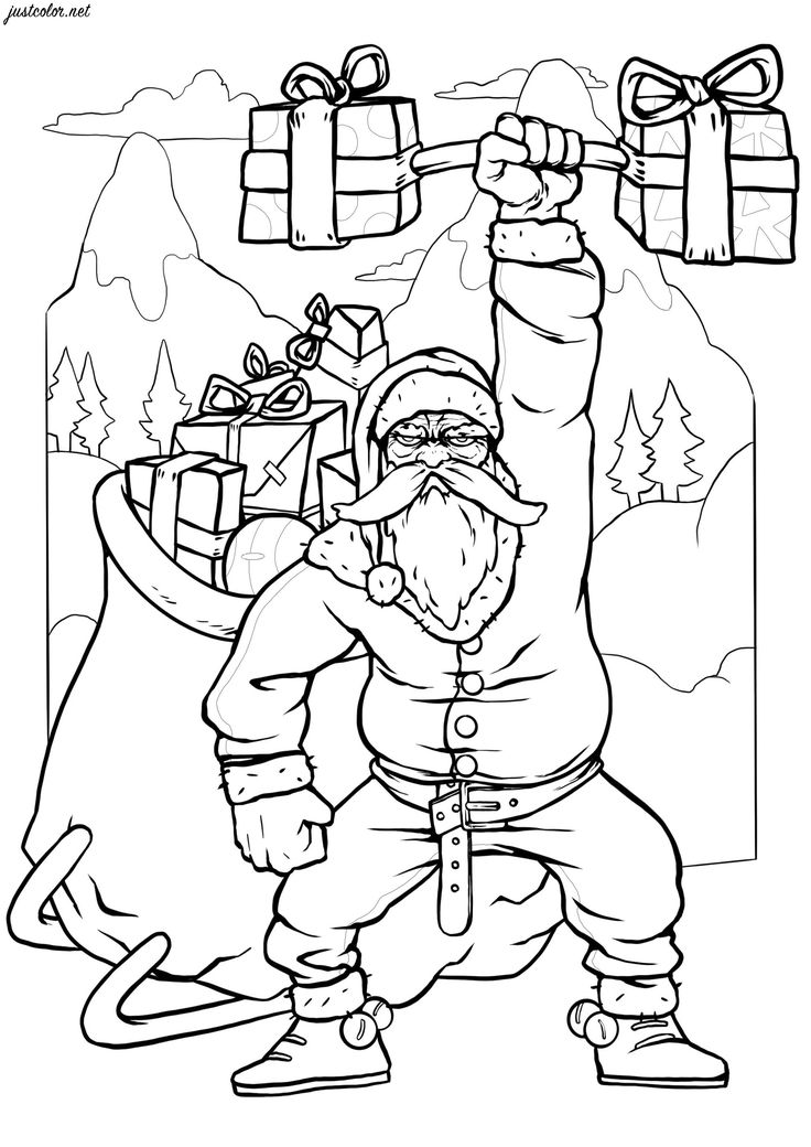 coloring pages for adults hd the strongest santa ever christmas coloring pages for adults for hd coloring pages
