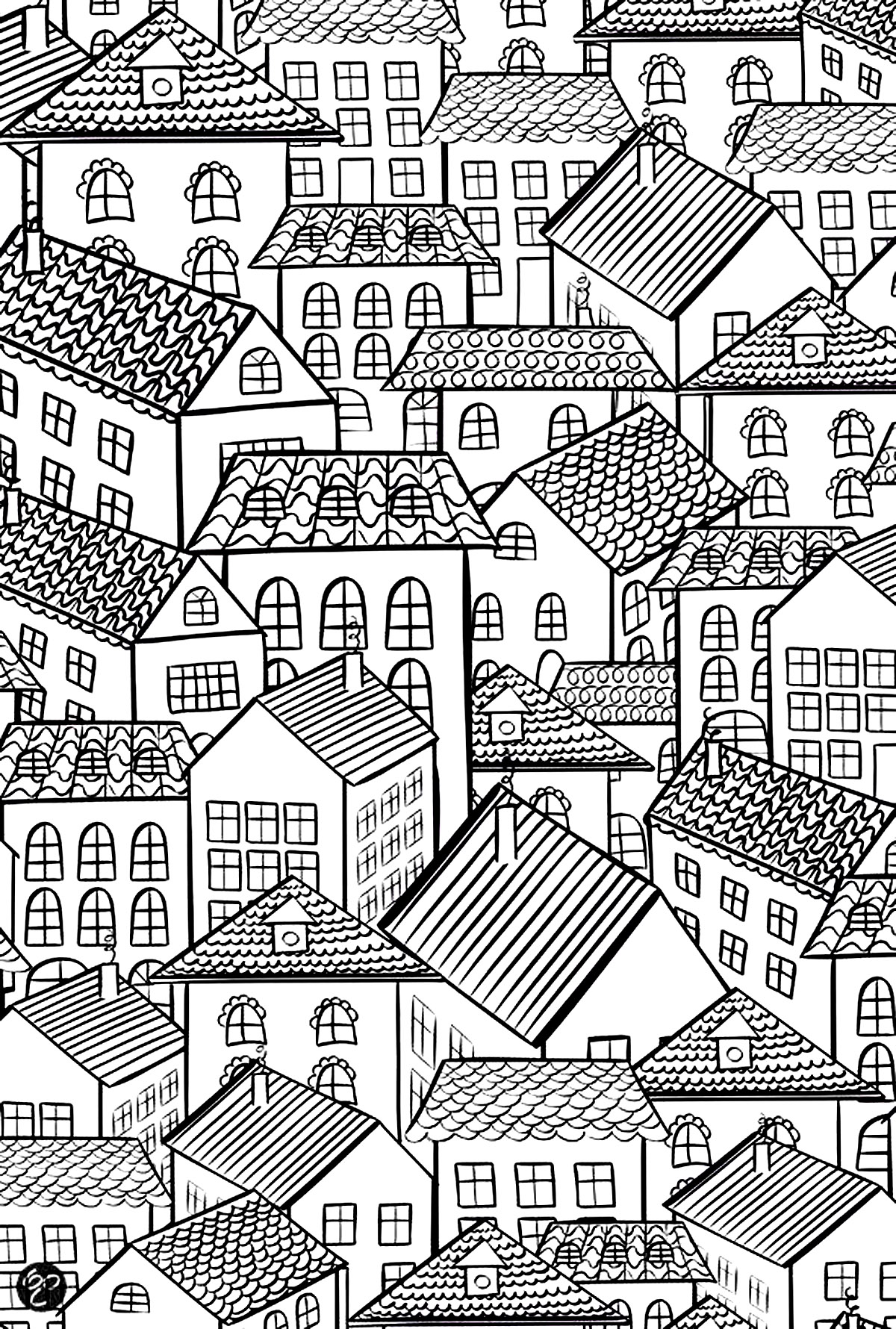 coloring pages house architecture village roofs architecture adult coloring pages coloring pages house