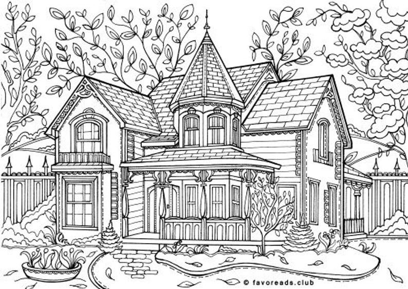 coloring pages house beautiful houses bundle 10 printable adult coloring pages coloring house pages