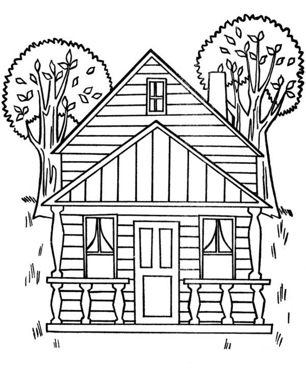 coloring pages house houses with two big trees coloring page color luna coloring house pages
