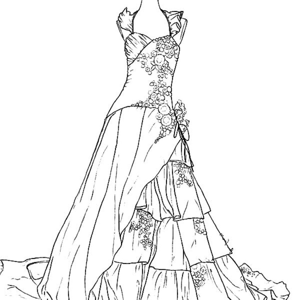 coloring pages of dresses fashion dress coloring pages at getdrawings free download of coloring pages dresses