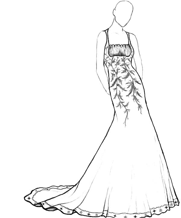 coloring pages of dresses fashion model wear floral theme dress coloring page pages of coloring dresses