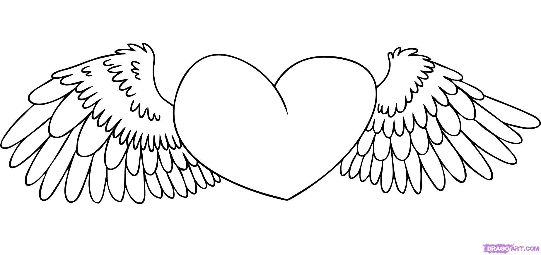 coloring pages of hearts with wings coloring page of hearts with wings coloring pages heart with of coloring hearts wings pages