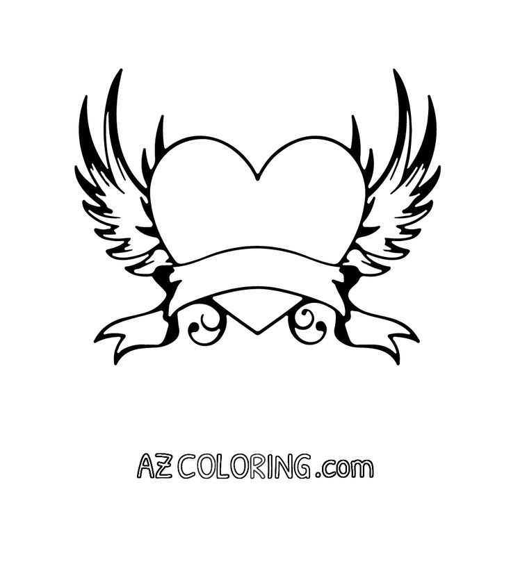 coloring pages of hearts with wings heart with wings coloring pages getcoloringpagescom hearts of wings with coloring pages