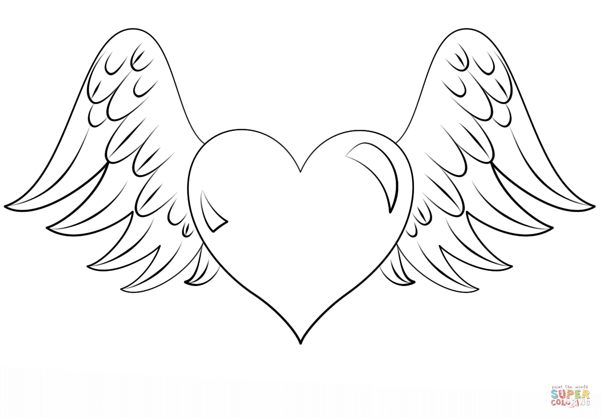 coloring pages of hearts with wings hearts with wings coloring pages coloring home with of coloring hearts wings pages