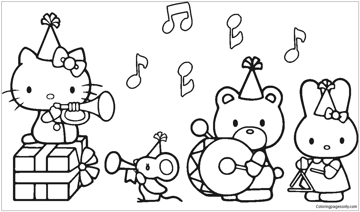 coloring pages of hello kitty and friends and print hello kitty friends elephant circus coloring kitty of pages coloring friends hello and
