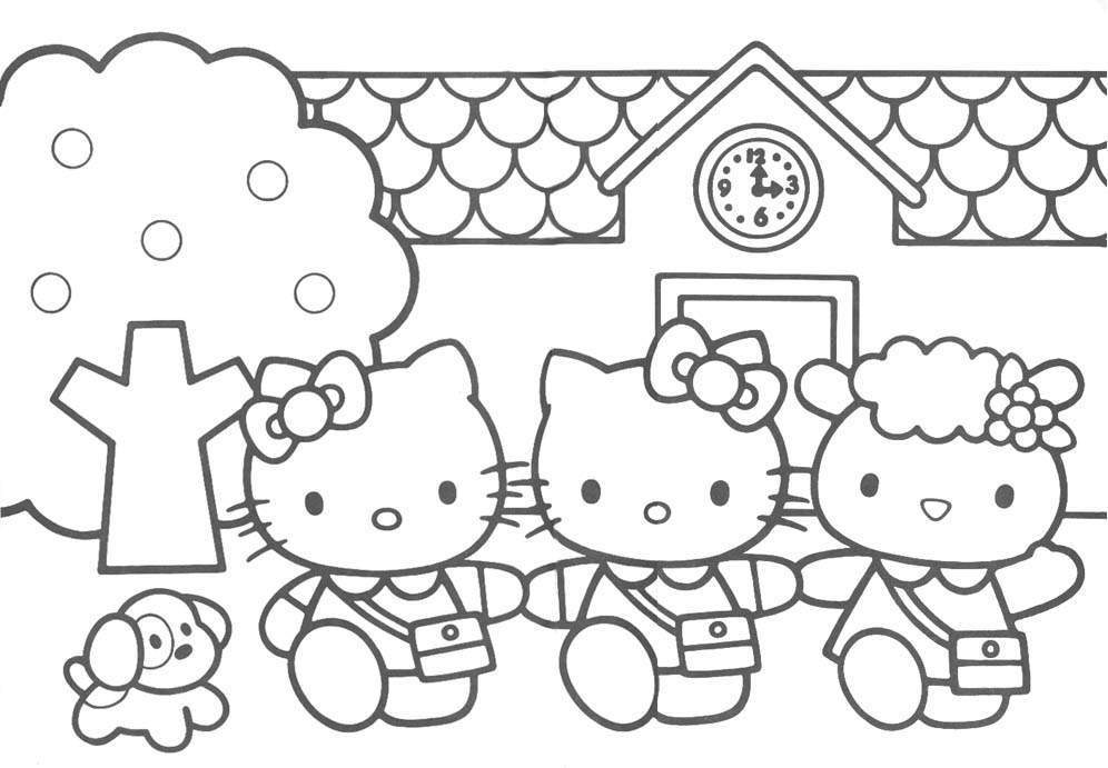 coloring pages of hello kitty and friends hello kitty with her friends in the birthday party and coloring hello pages kitty of friends