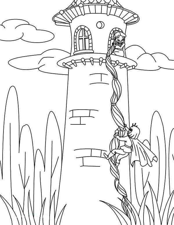 coloring pages of rapunzel prince climb tower using rapunzel hair coloring page pages coloring rapunzel of