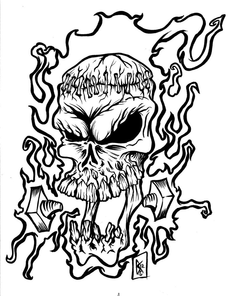 coloring pages of skulls with flames coloring pages of skulls with flames at getdrawings free with of skulls coloring pages flames