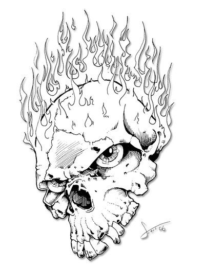 coloring pages of skulls with flames flame skull by httpswwwfacebookcomscotthasslerart pages flames with coloring skulls of