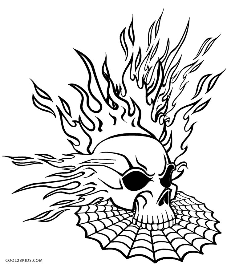 coloring pages of skulls with flames flaming skull coloring pages at getdrawings free download flames of coloring with skulls pages