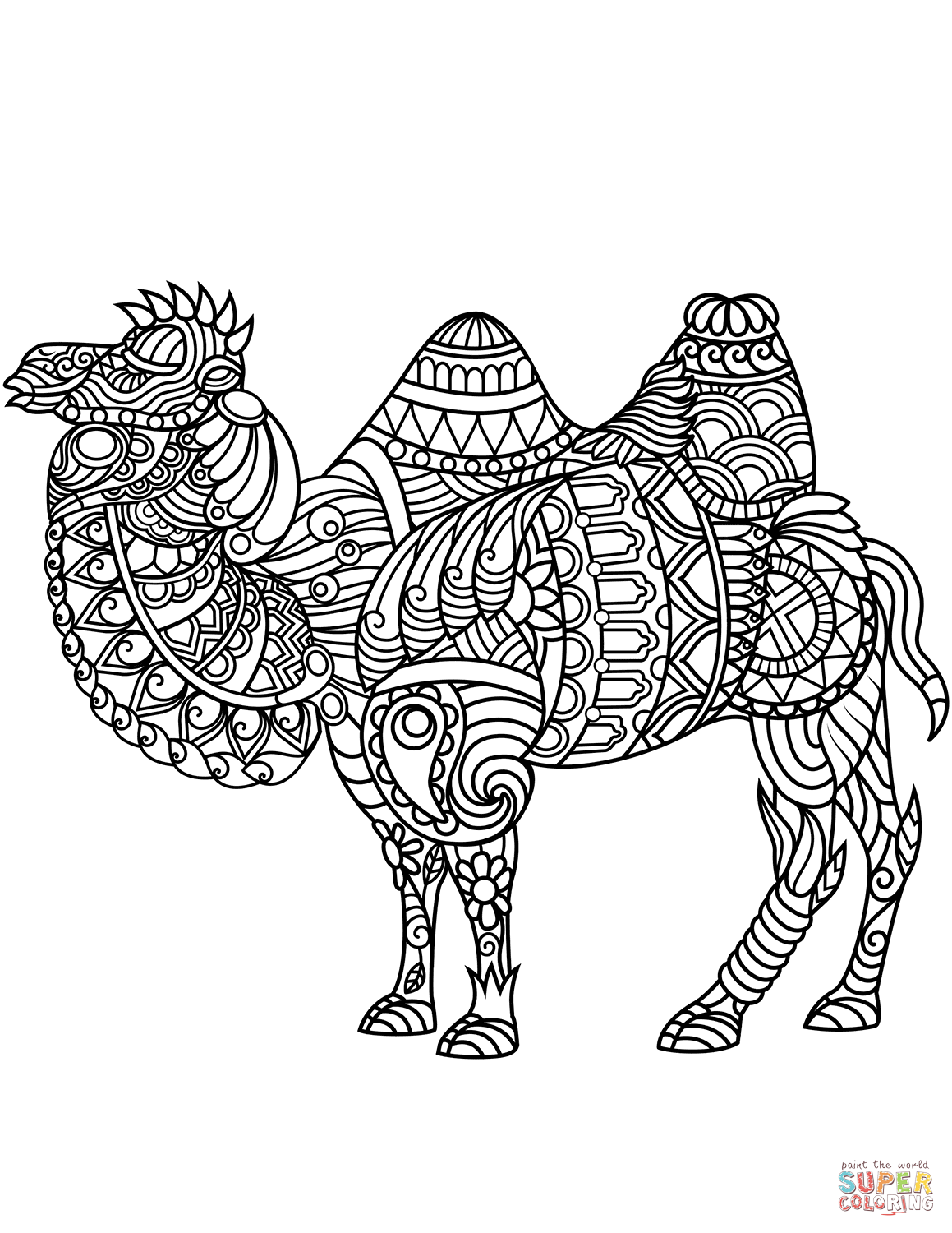 coloring pages zentangle bactrian camel zentangle coloring page free printable coloring pages zentangle