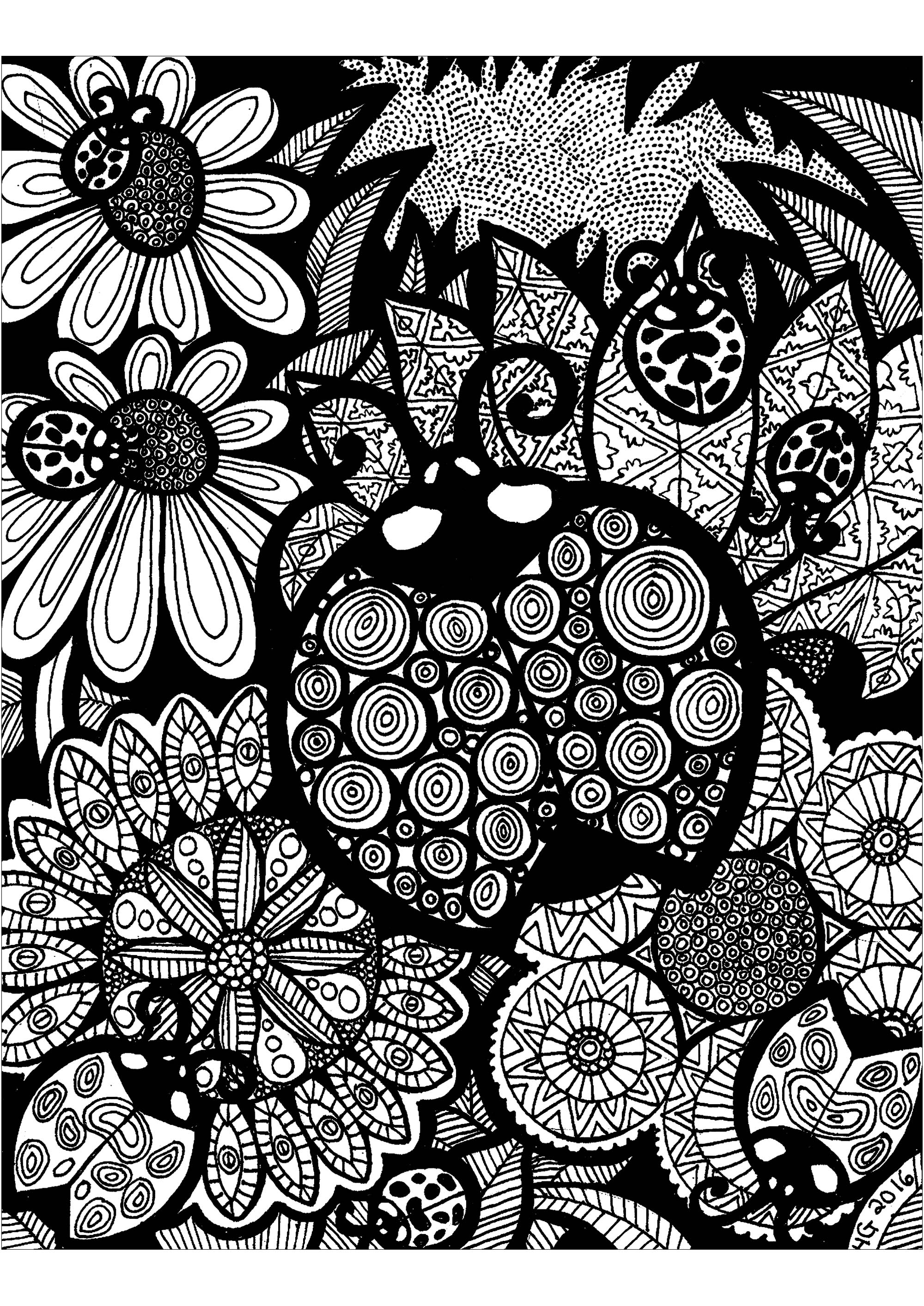 coloring pages zentangle lines of the ladybug zentangle adult coloring pages coloring zentangle pages