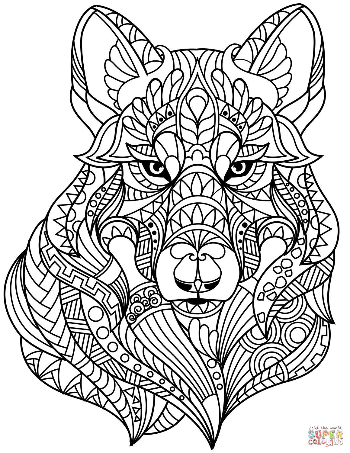 coloring pages zentangle wolf head zentangle coloring page free printable coloring pages zentangle