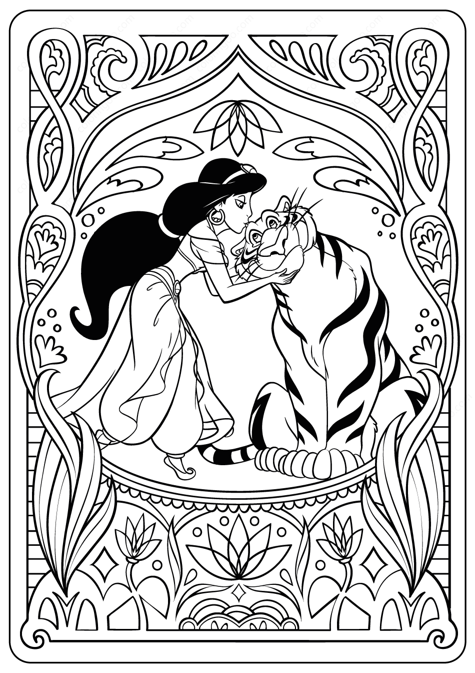 coloring picture of jasmine printable princess jasmine pdf coloring pages picture of jasmine coloring