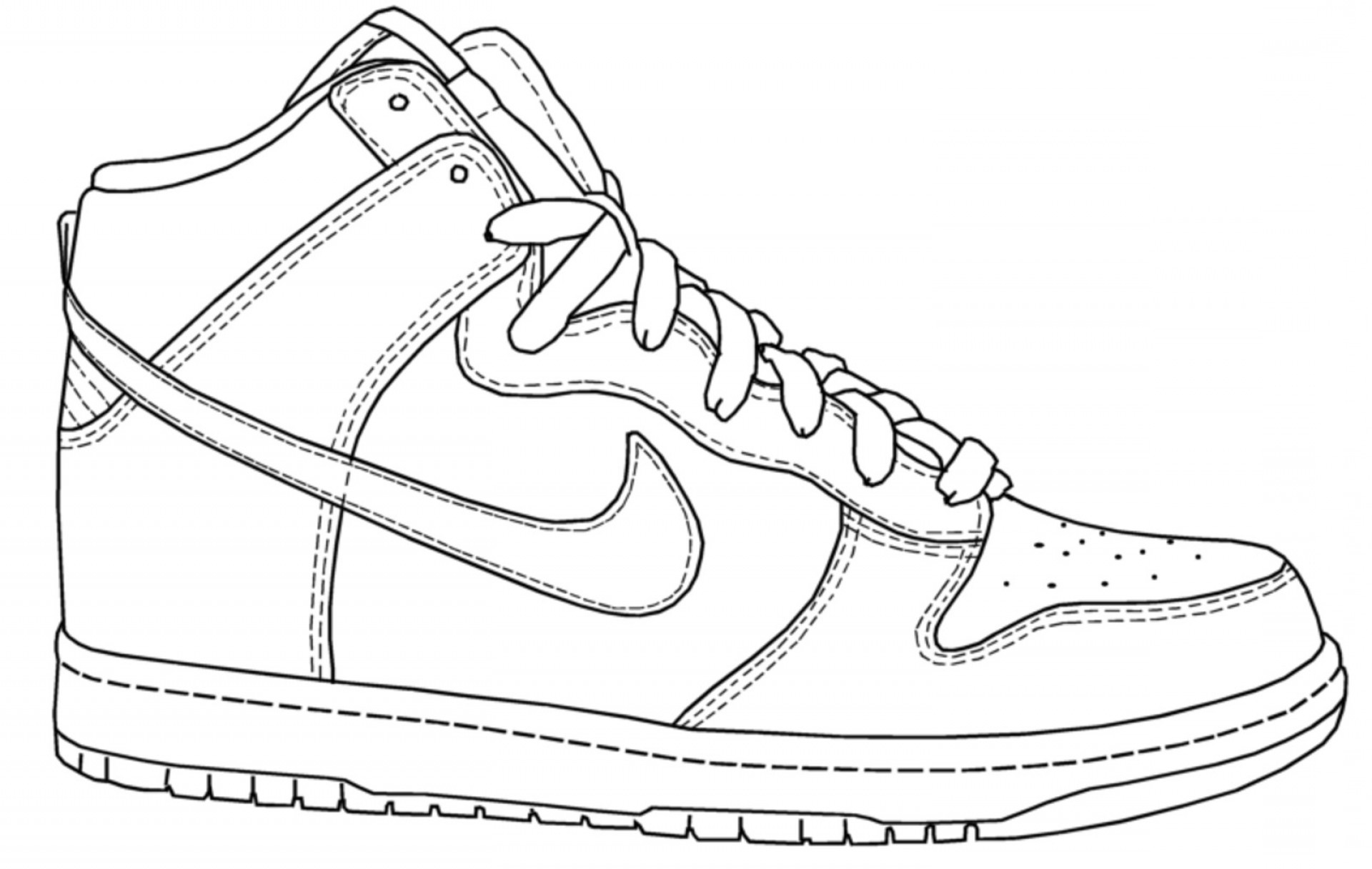 coloring picture shoes nike shoe drawing at paintingvalleycom explore coloring picture shoes