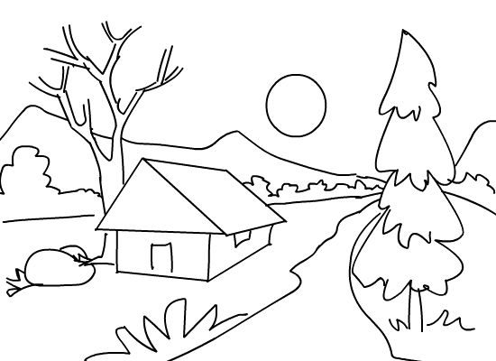 coloring scenery for kids scenery drawing for kids at getdrawings free download for coloring scenery kids