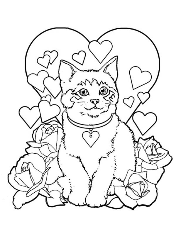 coloring sheet kitty a sweet kitty cat on valentines day coloring page kids coloring sheet kitty