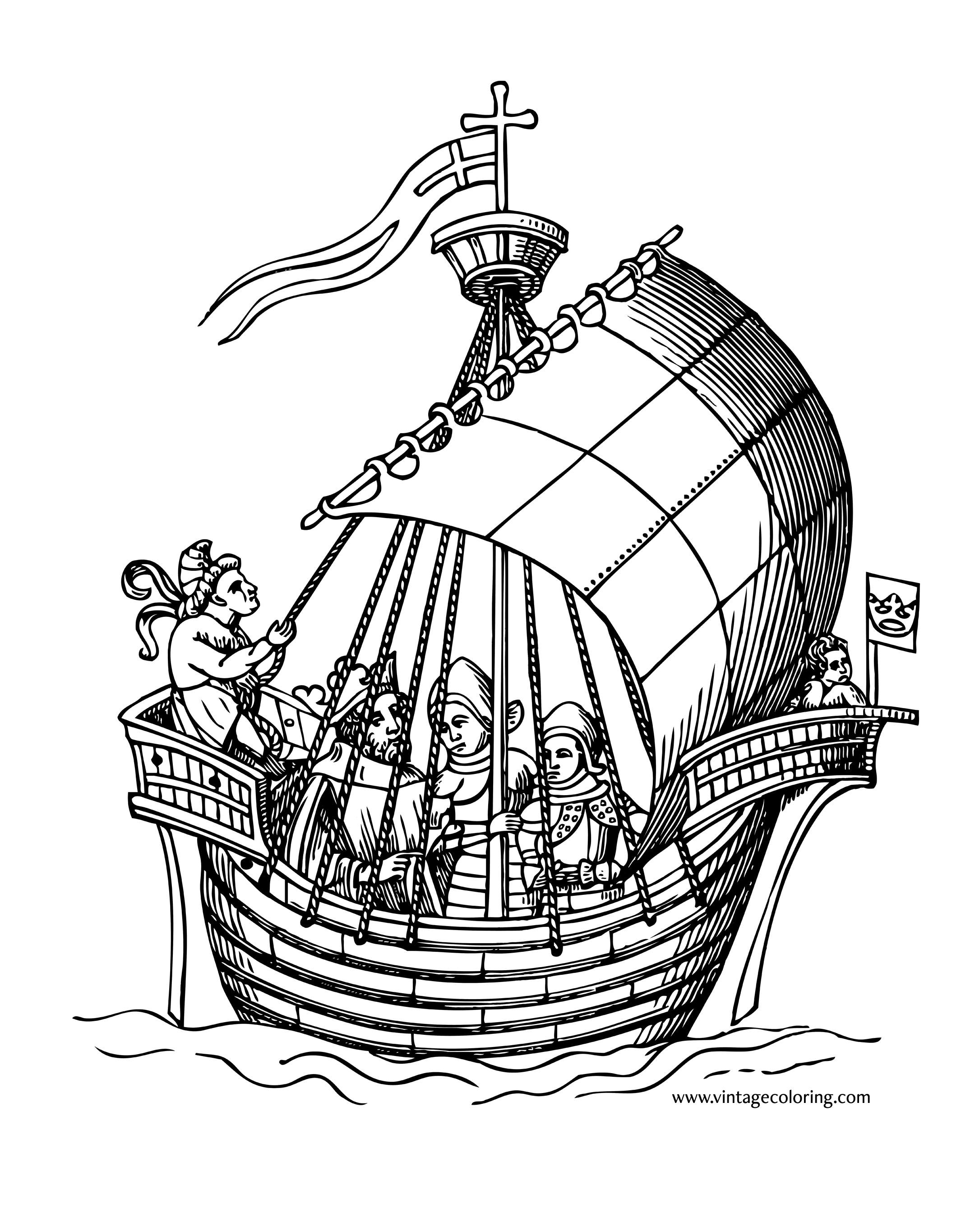 coloring ship ship of knights a free vintage coloring page coloring ship