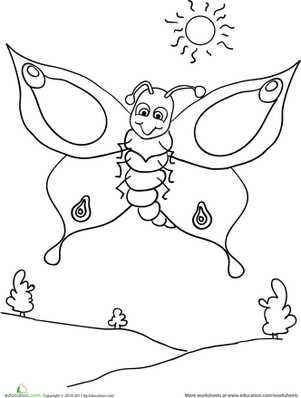 coloring worksheet butterfly 6 best images of cut and paste insect worksheets coloring worksheet butterfly