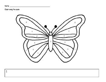 coloring worksheet butterfly butterfly color by numbers by purple hippo monster tpt worksheet butterfly coloring