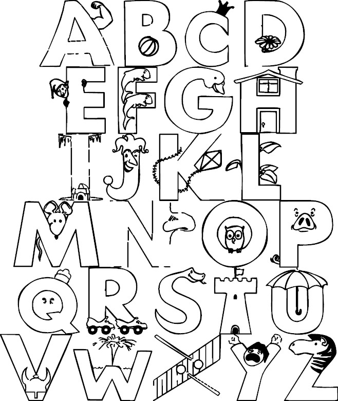 colouring letters a to z a z alphabet coloring pages download and print for free letters a z to colouring