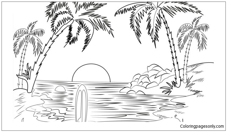 colouring pages of beach scene beach coloring page pages of colouring scene beach