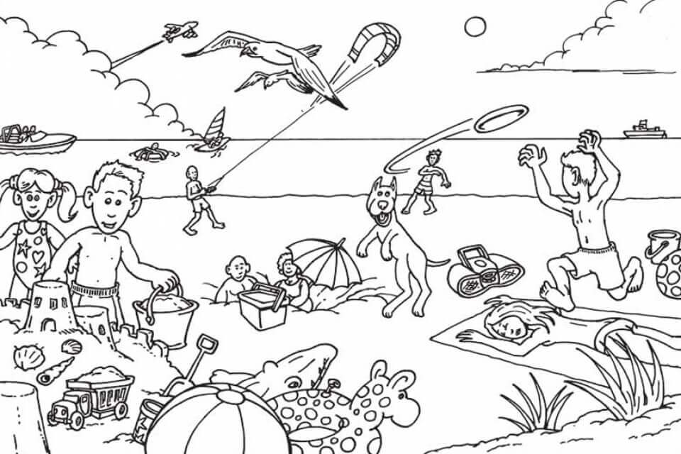 colouring pages of beach scene beach coloring pages beach scenes activities pages beach colouring scene of