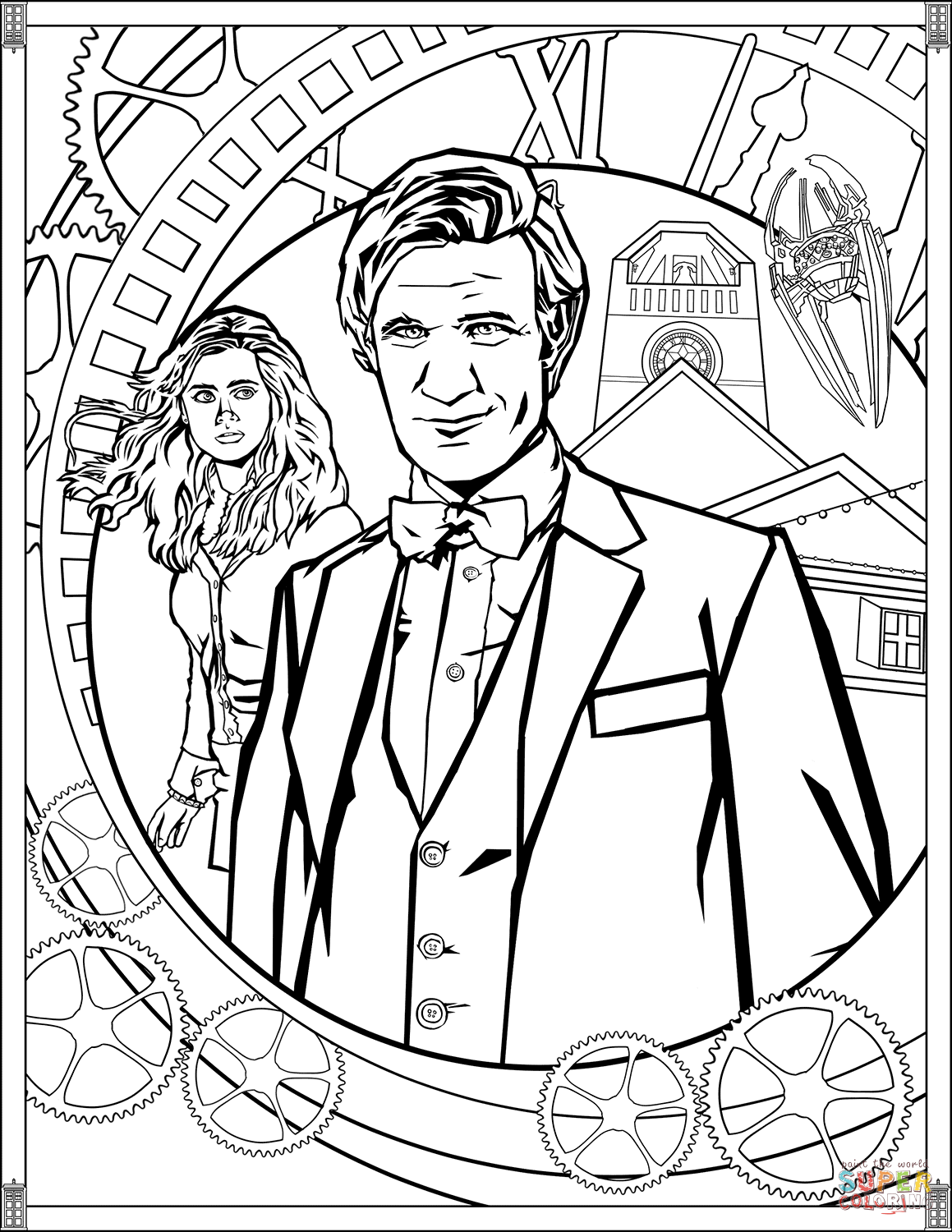 colouring pages of doctor eleventh doctor coloring page free printable coloring pages pages of colouring doctor