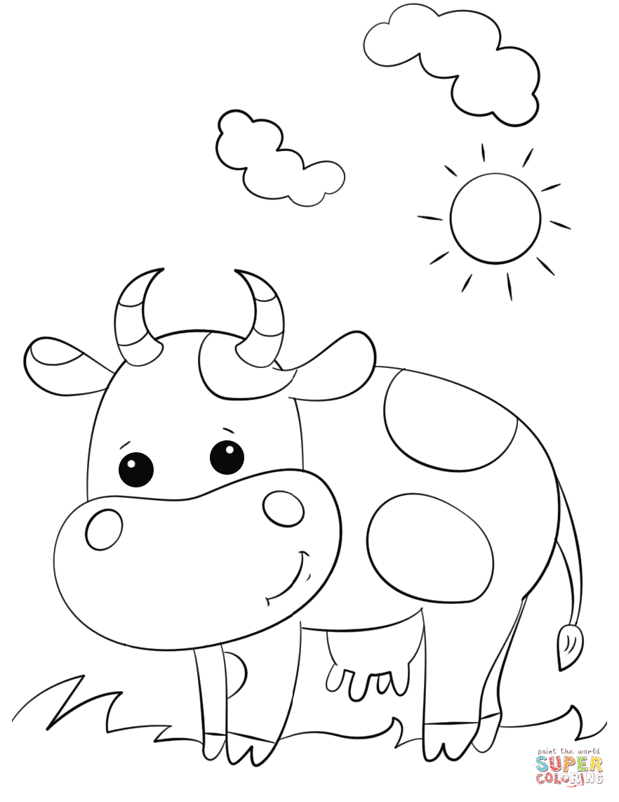 cow pictures to color little cow cartoon animals coloring pages for kids pictures to color cow