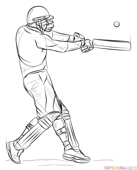 cricket drawing how to draw a cricket player step by step drawing tutorials drawing cricket