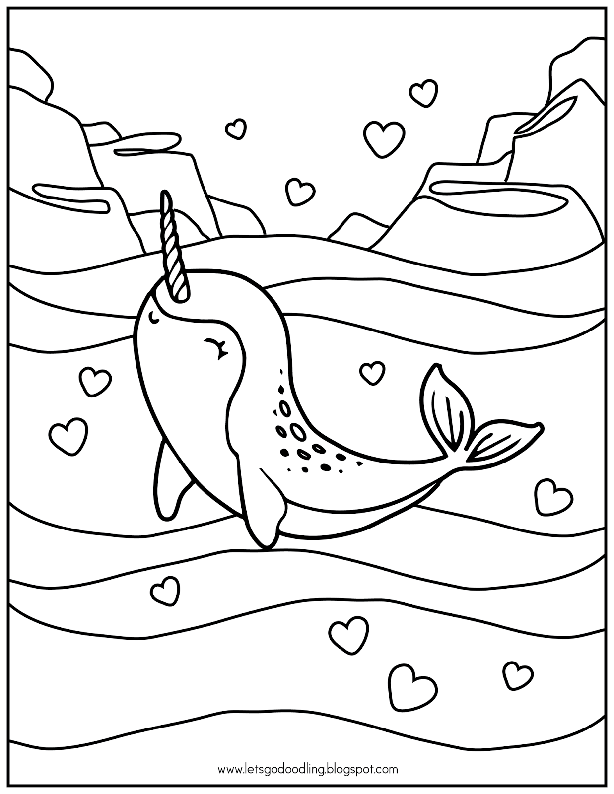 cute narwhal coloring page free printable coloring page narwhal narwhal cute coloring page