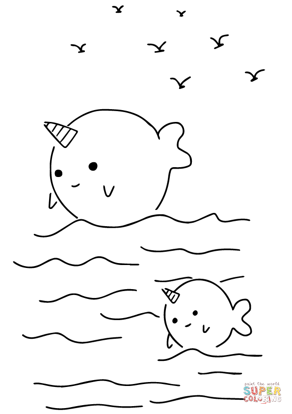 cute narwhal coloring page kawaii narwhals coloring page free printable coloring pages coloring narwhal page cute