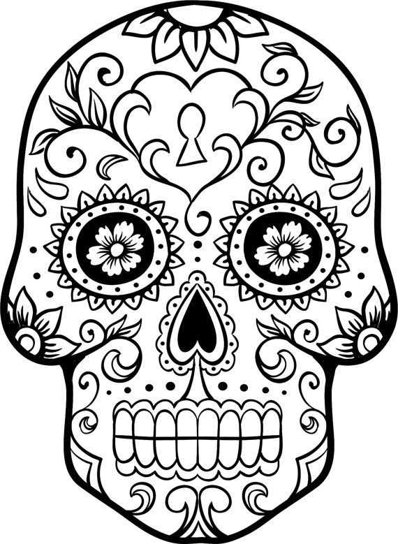 day of the dead skull outline dia de los muertos coloring pages pinterest happy outline day of dead the skull