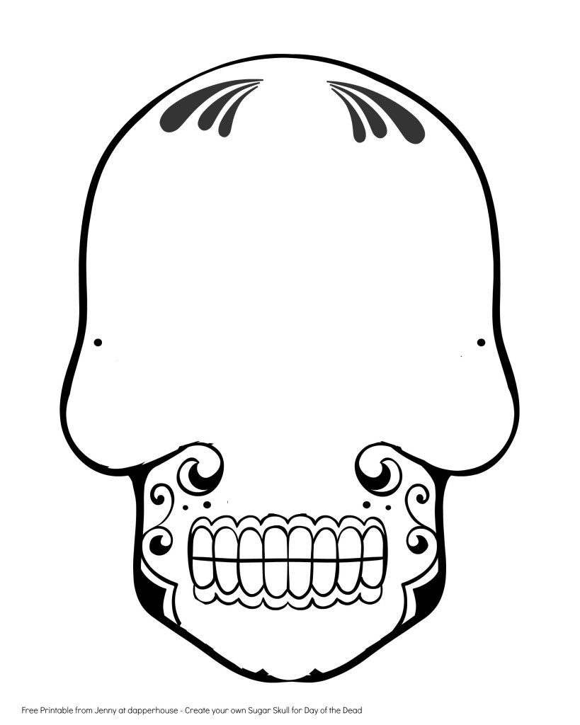 day of the dead skull outline free printable create a sugar skull for day of the dead of skull dead the day outline