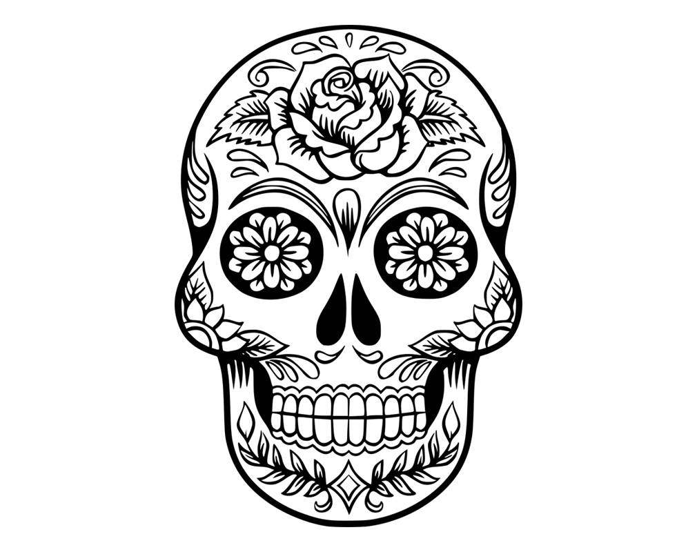 day of the dead skull outline sugar skull drawing at paintingvalleycom explore dead skull the of day outline