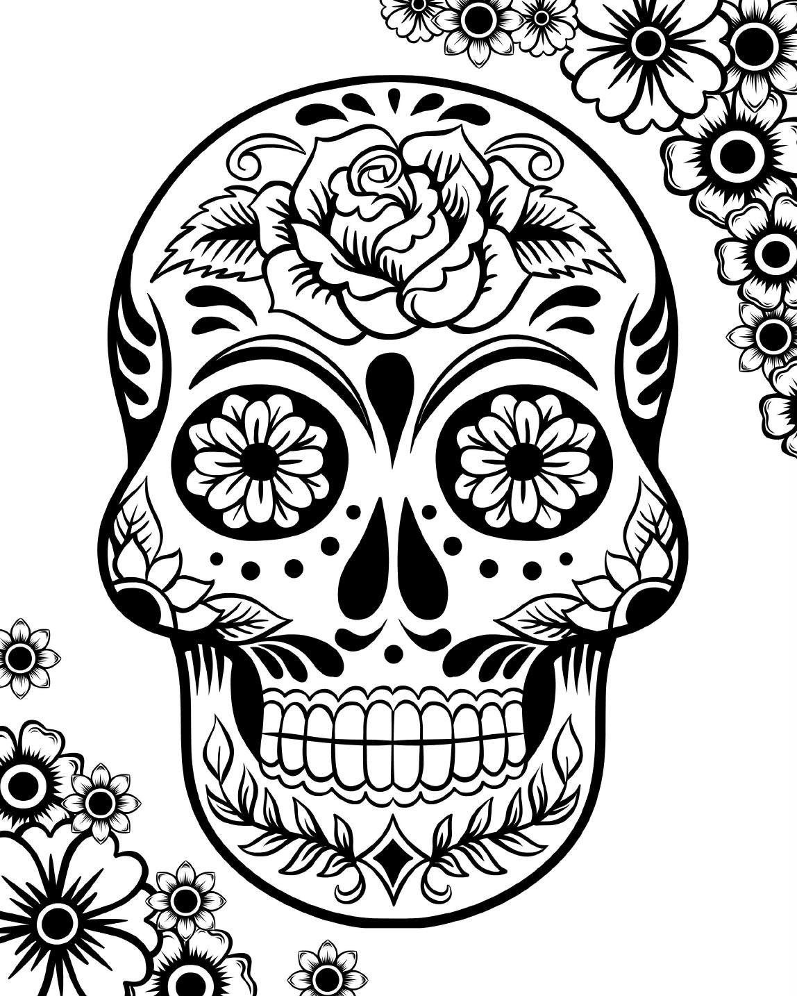 detailed skull coloring pages day of the dead dia de los muertos sugar skull coloring skull pages coloring detailed