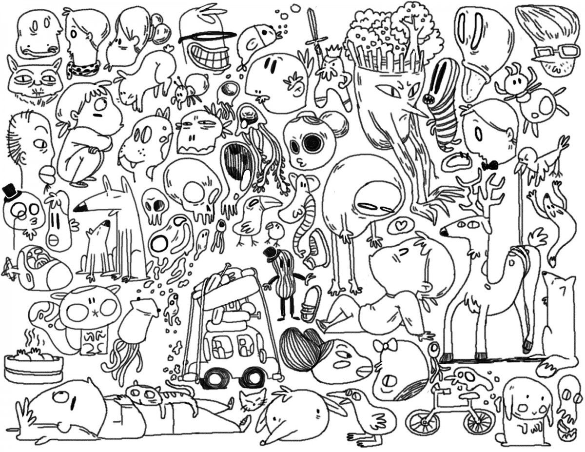 doodle pages art supplies doodle coloring page printable cutekawaii etsy pages doodle