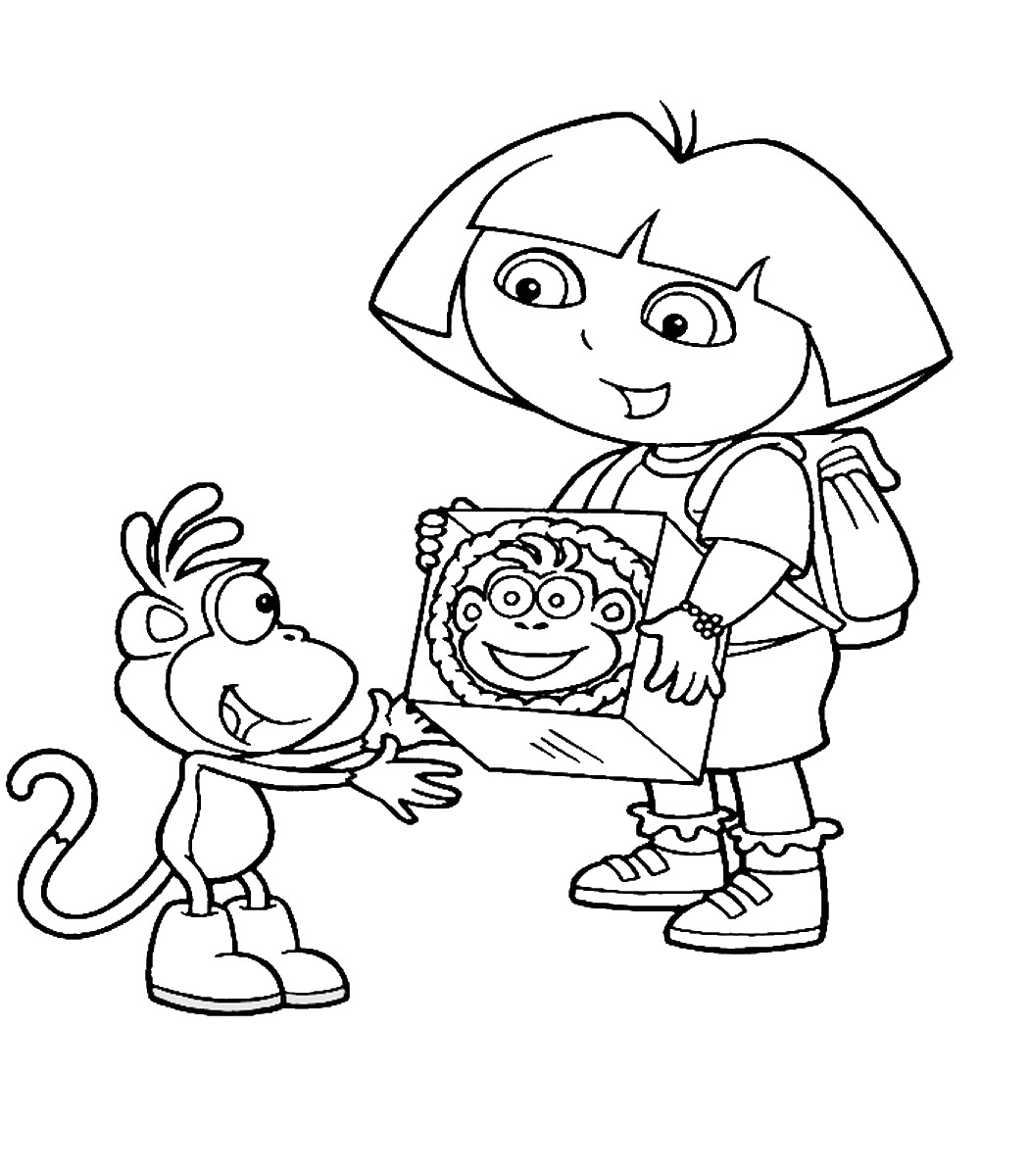 dora coloring page dora and boots coloring pages to download and print for free dora coloring page