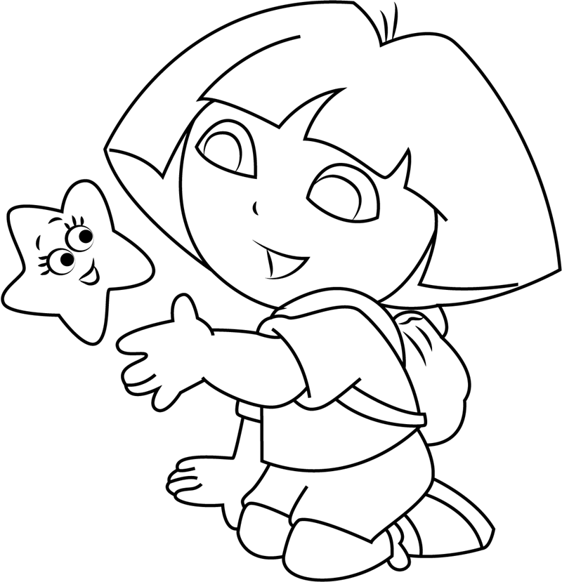 dora the explorer images to print dora with cartoon star coloring page free printable the images dora to print explorer