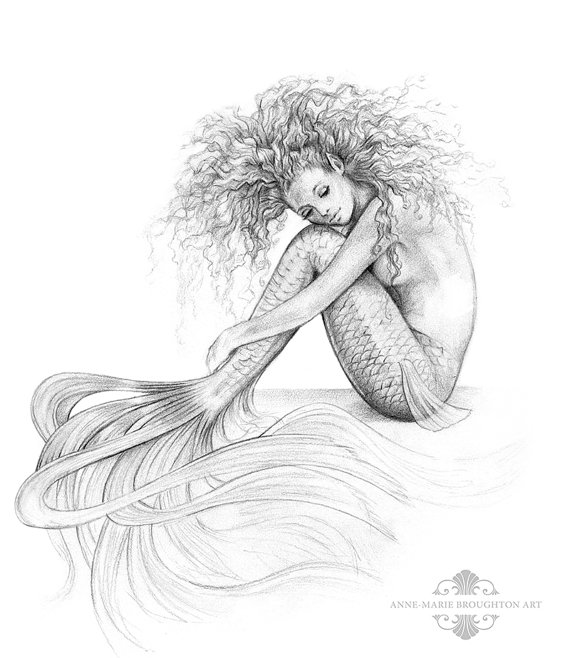 drawing of a mermaid 8x10 inch print tranquil mermaid art graphite pencil drawing a drawing mermaid of