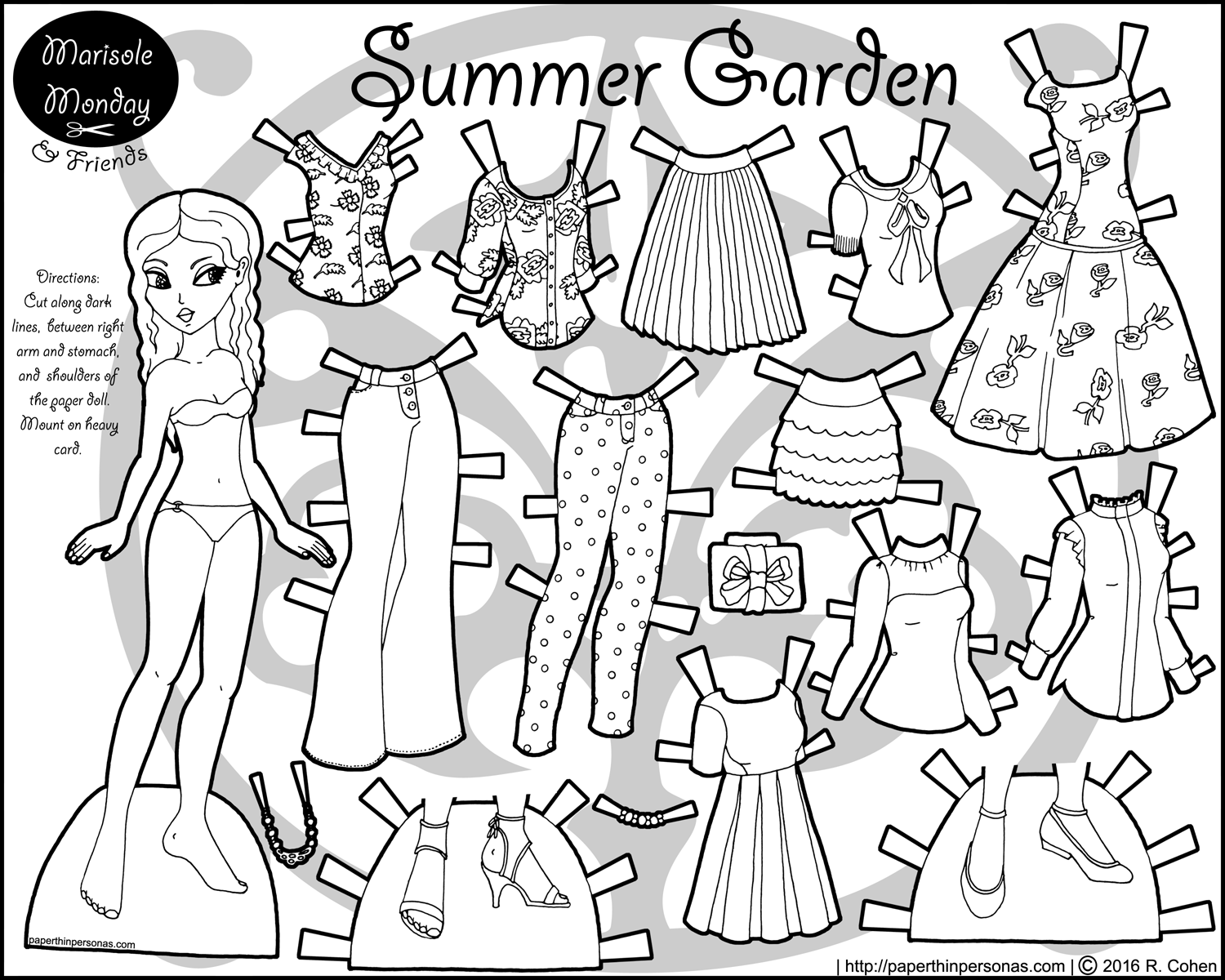 dress up paper dolls printable marisole monday modern girl in black white coloring printable dolls up paper dress