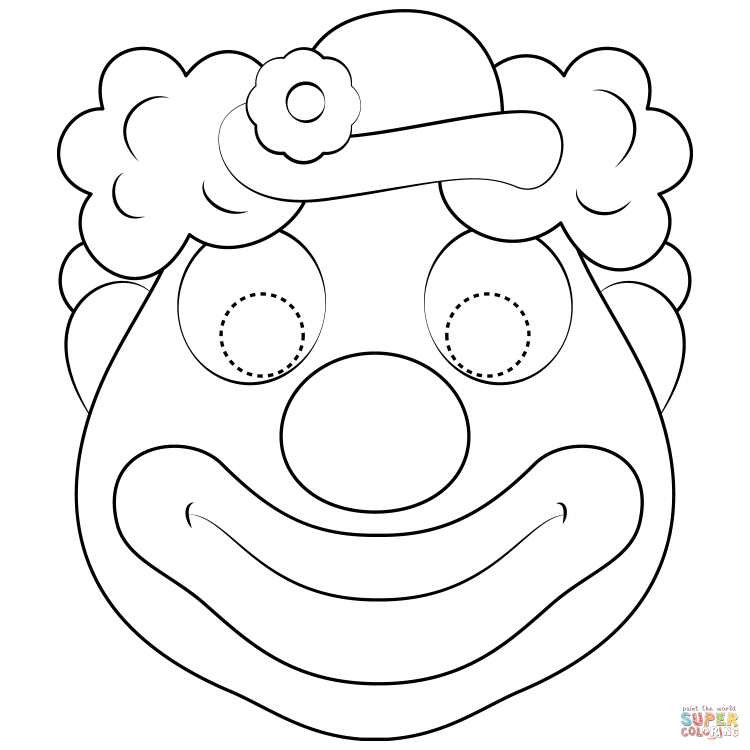 easy clown coloring pages smiling clown coloring page clown easy coloring pages