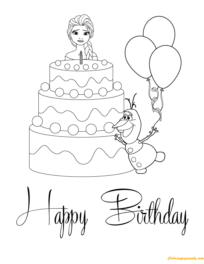 elsa birthday coloring pages coloring pages happy birthday big collection print postcards elsa pages coloring birthday