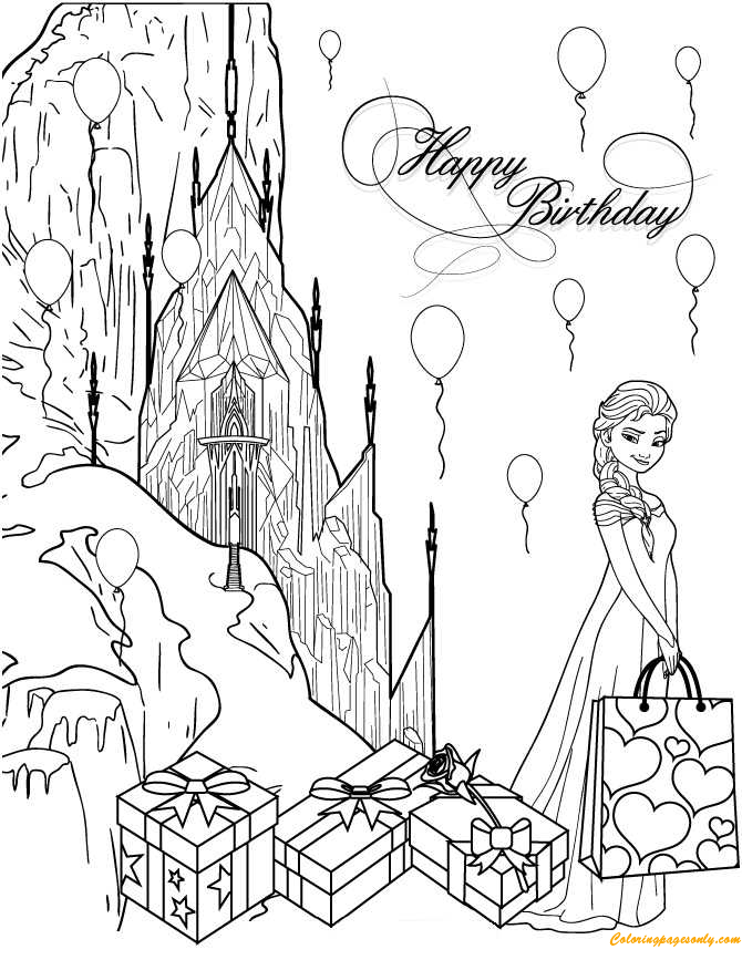elsa birthday coloring pages elsa and birthday present coloring page for kids holiday pages birthday coloring elsa